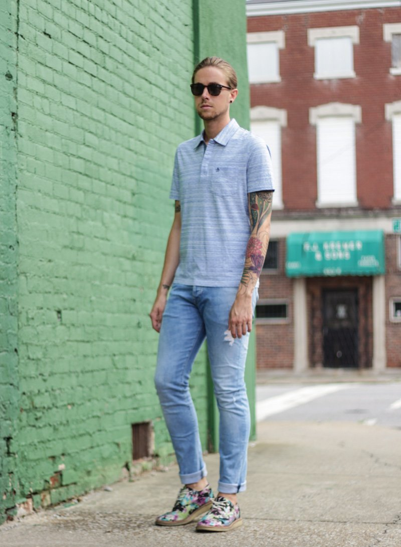 The Kentucky Gent in Original Penguin Briscoe Sunglasses, Original Penguin Polo Shirt, H&M Light Wash Denim Pants, and TOMS Floral Brogues.