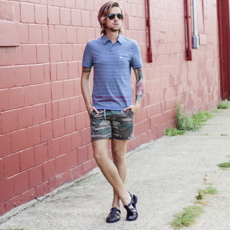 The Kentucky Gent in Original Penguin Polo Shirt, Topman Camo Shorts, Zara Sandals, and Ray-Ban Aviator Sunglasses from East Dane.