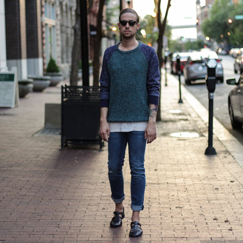 The Kentucky Gent, a men's fashion and life style blogger, in Koto Sweatshirt Sweater, Obey Tank Top, Levi's 511 Jeans, Zara Sandals, and TOMS Sunglasses.