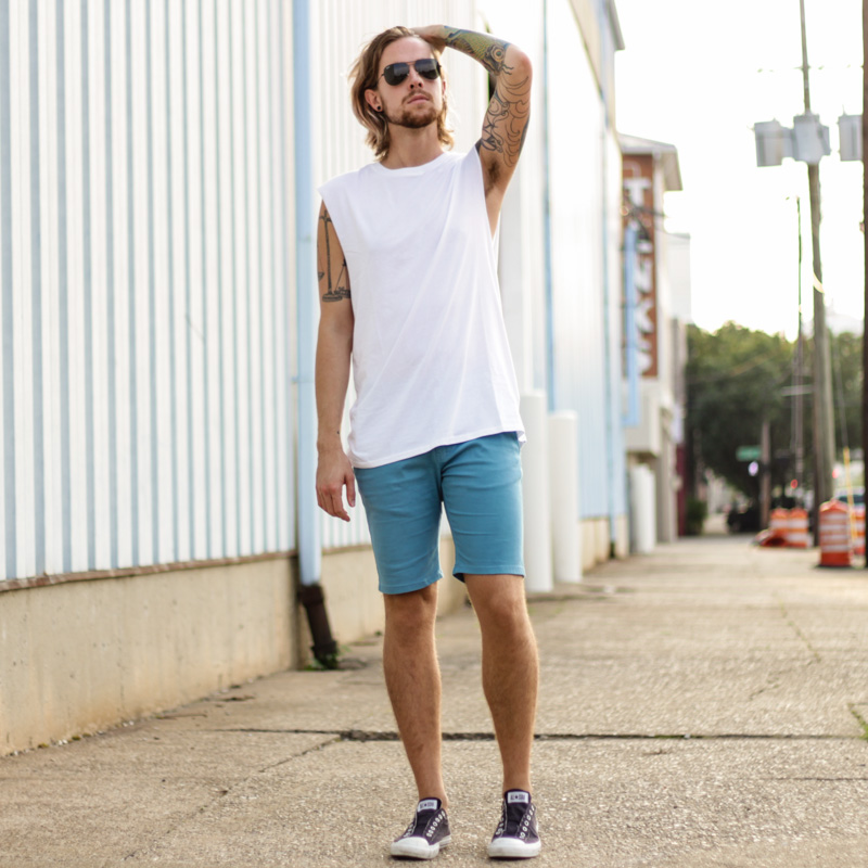 The Kentucky Gent, a Southern men's life and style blogger, in Topman Muscle Shirt, Ambig Clothing Shorts, Converse Chuck Taylors, and Ray-Ban Aviator Sunglasses from East Dane.