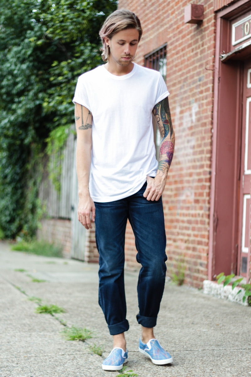 The Kentucky Gent in True Religion Billy Bootcut Jean, BDG White T-Shirt, and Bucketfeet Slip On Shoes.