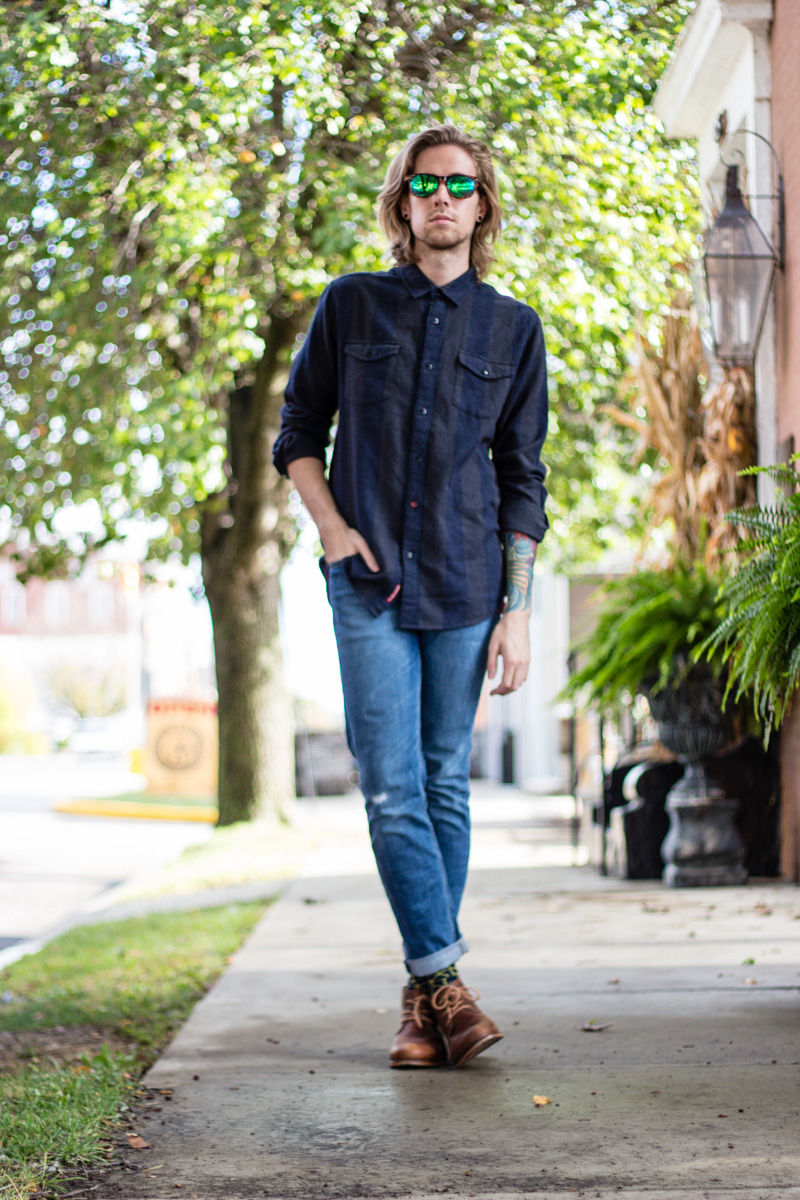 The Kentucky Gent, a men's fashion and lifestyle blogger from Kentucky, in Katin Long Sleeve Flannel Plaid Shirt, Levi's 511 Slim Fit Jeans, Richer Poorer Navy Printed Socks, J Shoes Monarch Chukka Boot, and Woodzee Sunglasses.