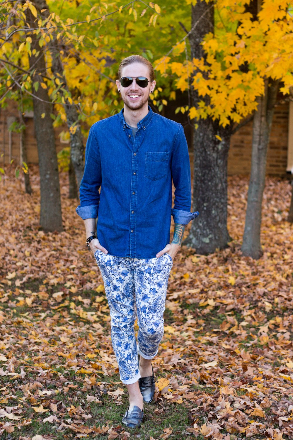 The Kentucky Gent, a men's fashion blogger in Louisville, Kentucky, wearing a Mack Weldon T-Shirt, H&M Denim Shirt, Zara Paisley Pants, GH Bass Weejuns, and Ray-Ban Aviator Sunglasses.