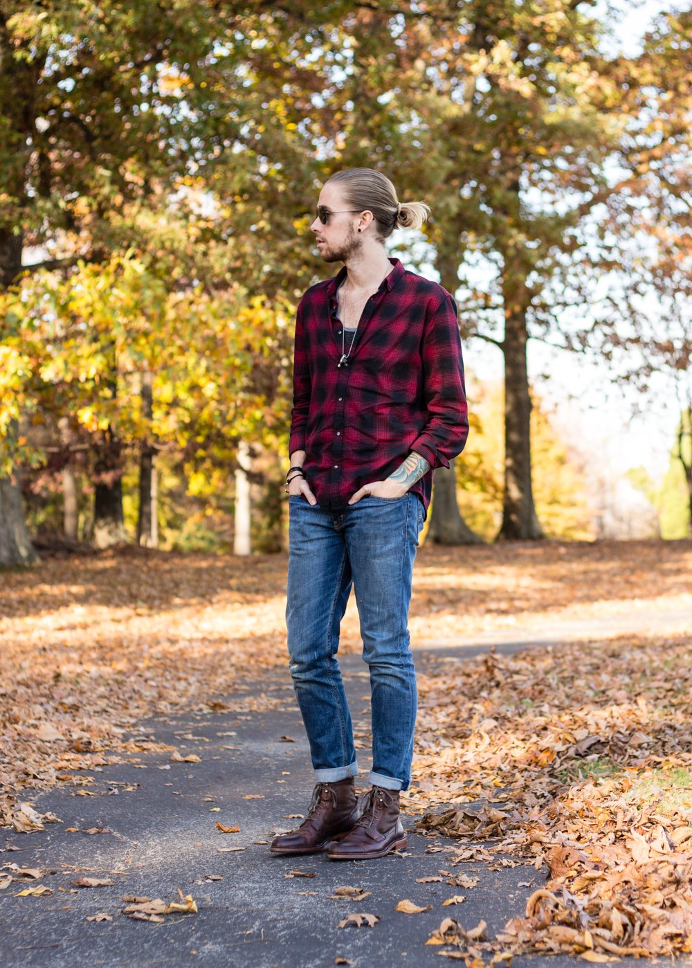 The Kentucky Gent, a Louisville, Kentucky blogger, wearing Ray-Ban Aviator Sunglasses, Miansai Bracelet, Half United Necklace, BDG Ringer Tank Top, Levi's 511 jeans, and Trask Union Shearling Boots