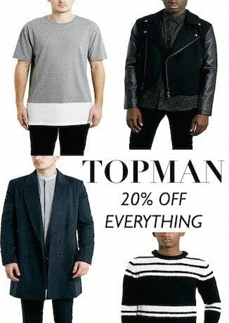 Topman's 20% off everything sale with The Kentucky Gent's favorites.