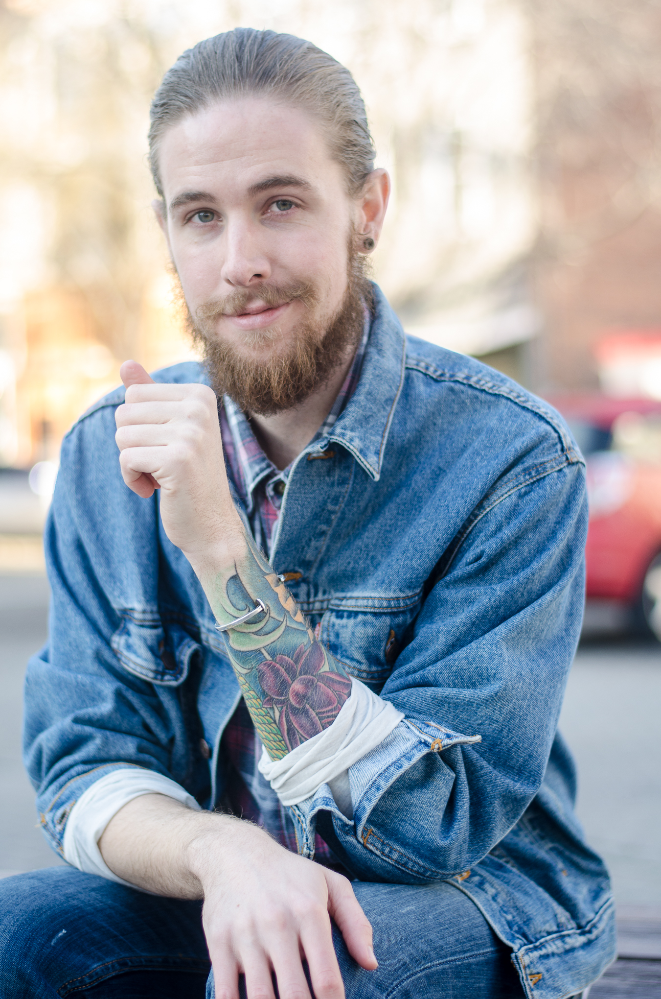 The Kentucky Gent, a Louisville, Kentucky based men's fashion and lifestyle blogger, wearing Levi's Denim Jacket and Jeans, Plaid Shirt, Giles and Brother Cuff, SPY Optic Sunglasses, and Trask Boots.