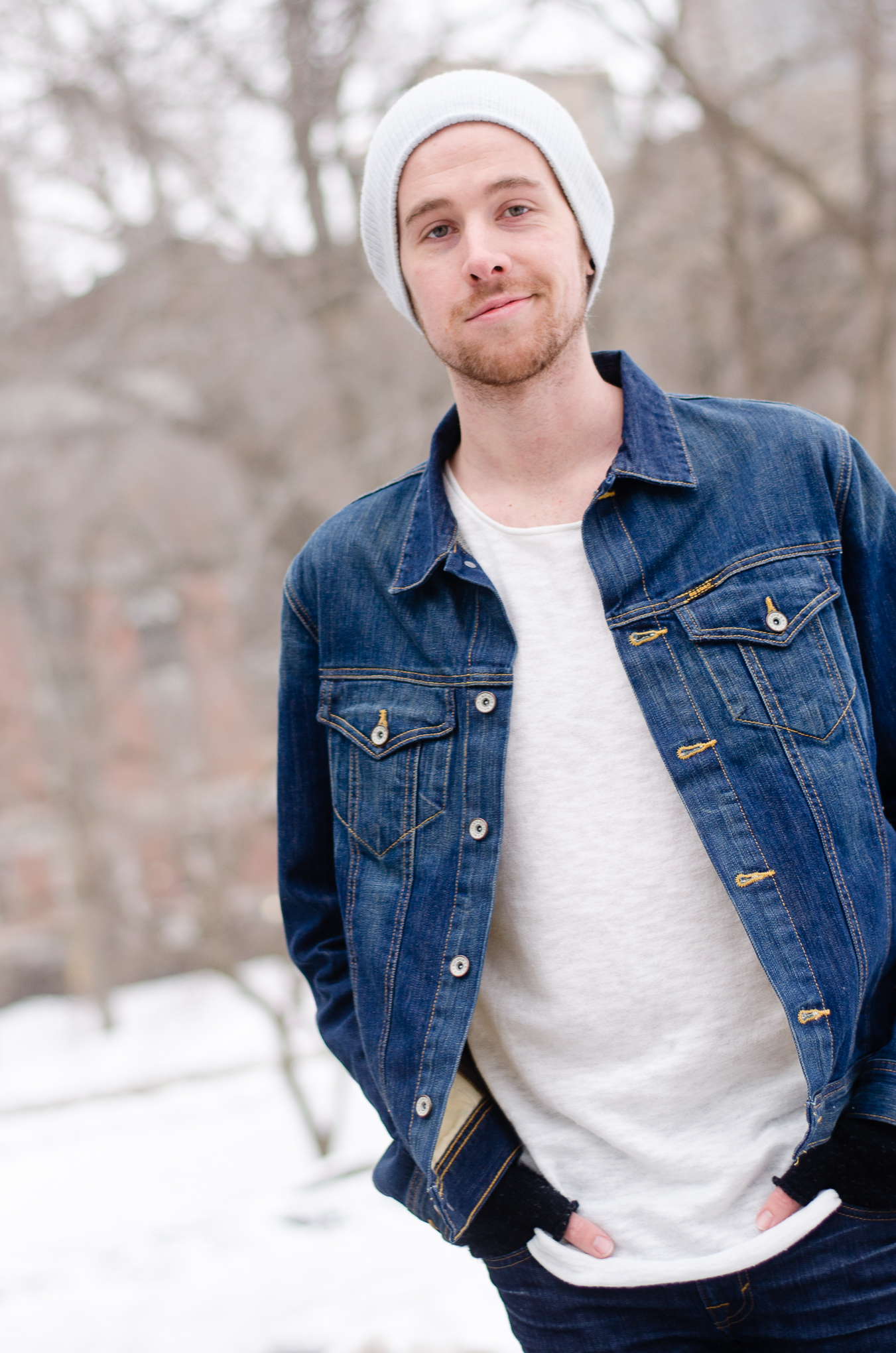 The Kentucky Gent, a men's fashion and lifestyle blogger, explores Central Park in a Big Star Denim Jacket and DSTLD Jeans.