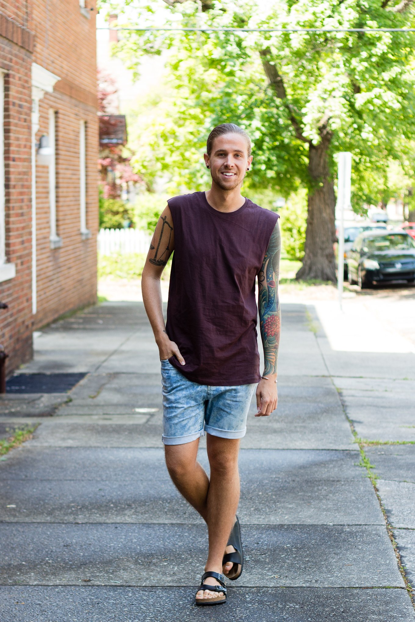 mens fashion, boohoo, denim shorts, mens tank top, birkenstock sandals
