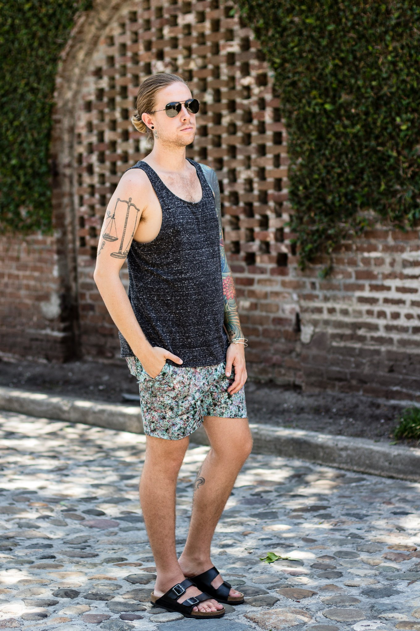 hm mens tank top, topman shorts, summer mens fashion, mens birkenstock sandals, rainbow row charleston