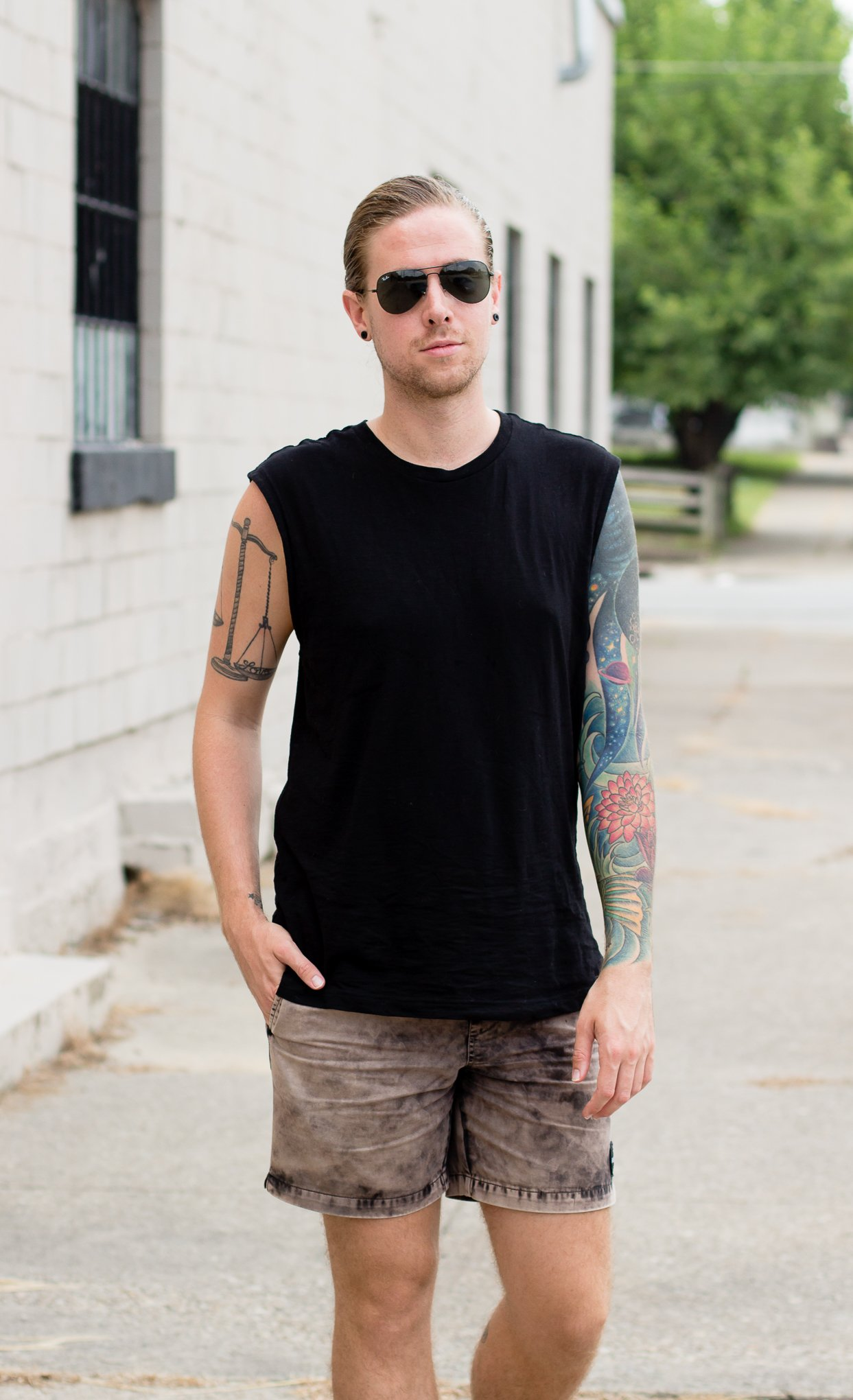 mens summer fashion, rvca, hm, rayon, how to wear a black tank