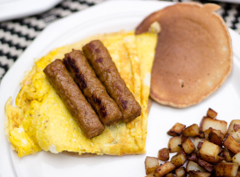 whole wheat breakfast pancakes, pancakes, easy to make breakfast, johnsonsville breakfast sausage