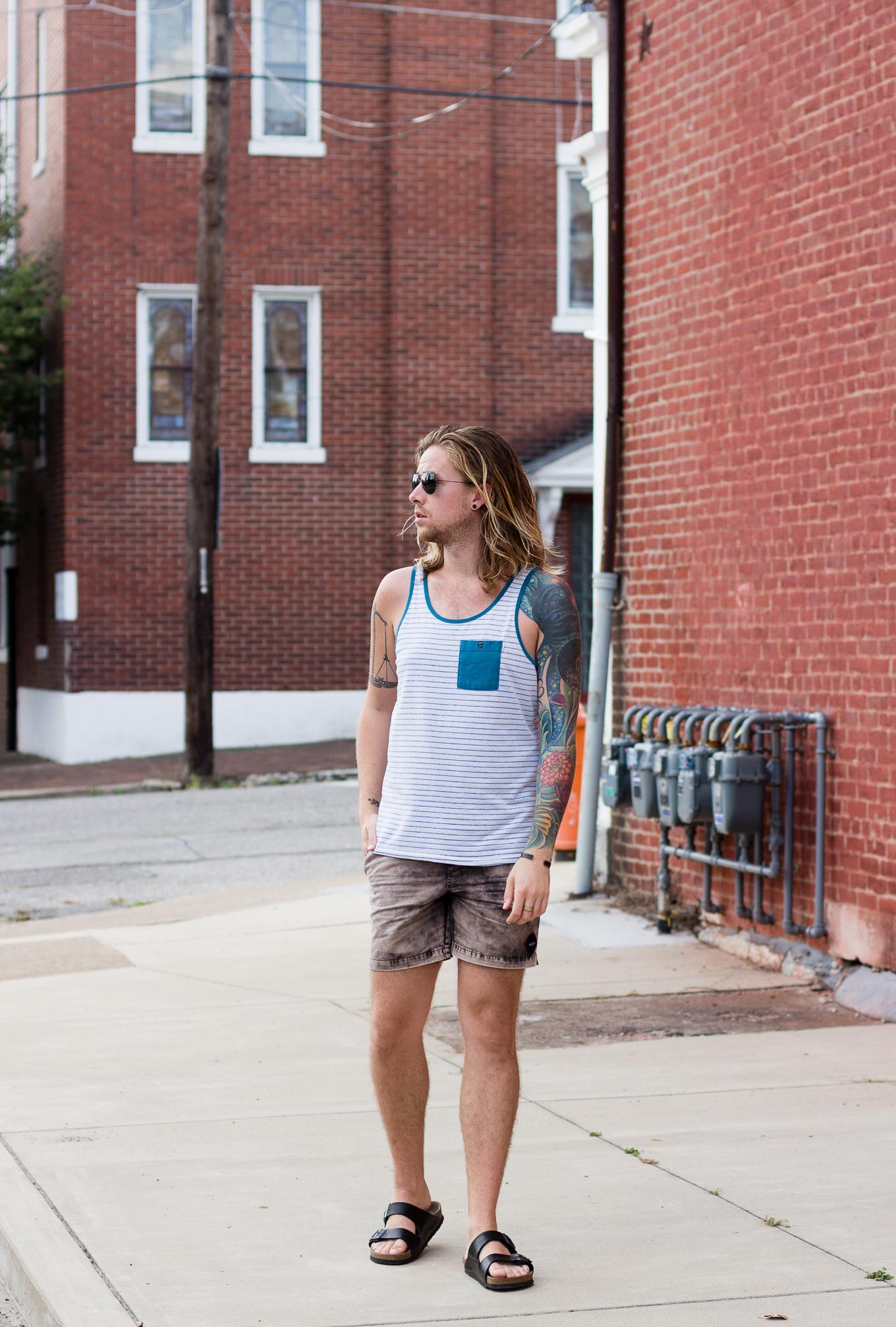 ambig clothing, rvca, mens tank top, birkenstock sandals, mens fashion blog