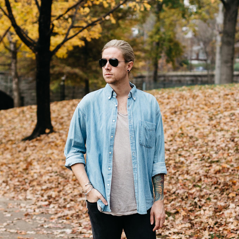 louisville kentucky park, mens fall fashion, vintage j crew denim, vsco film, what to wear in the fall
