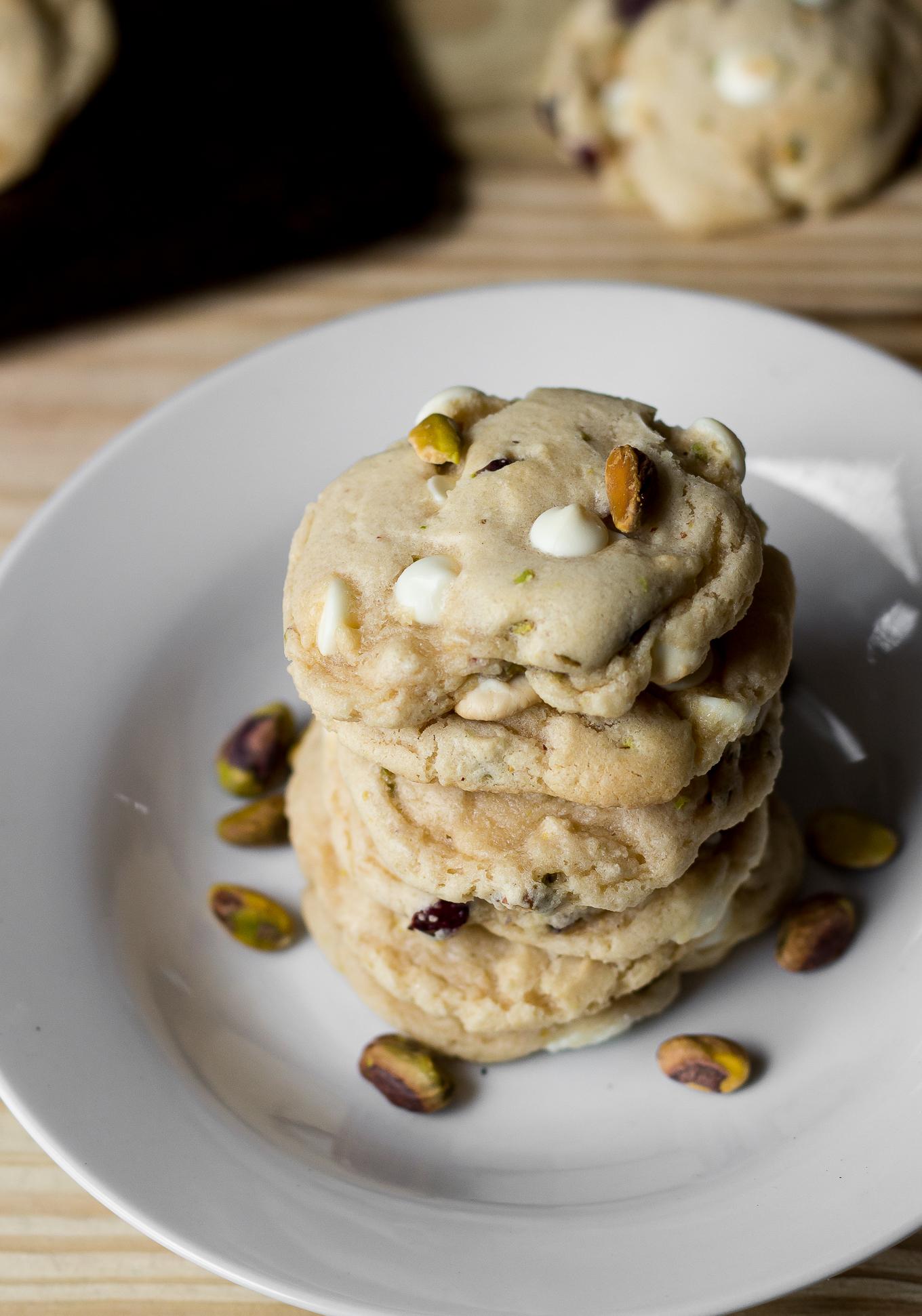 national pistachio day, cranberry white chocolate chip pistachio cookies, pistachio cookies, pistachio recipes