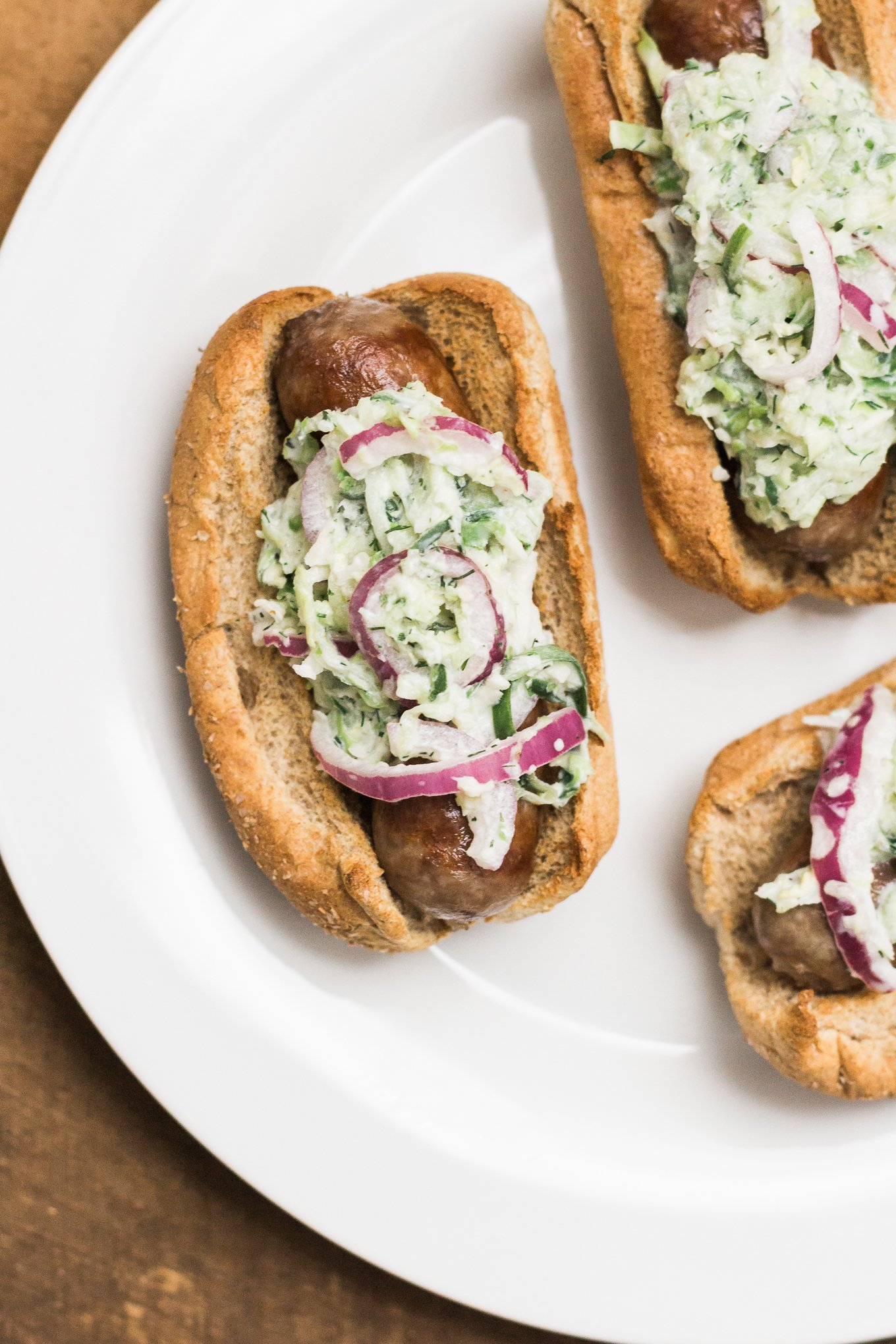 johnsonville brats, cucumber slaw, food blog, cooking blog, all natural brats