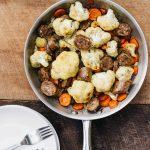 johnsonville, johnsonville Bratwurst, cauliflower dinner ideas, easy one pan dinners, cauliflower stir fry