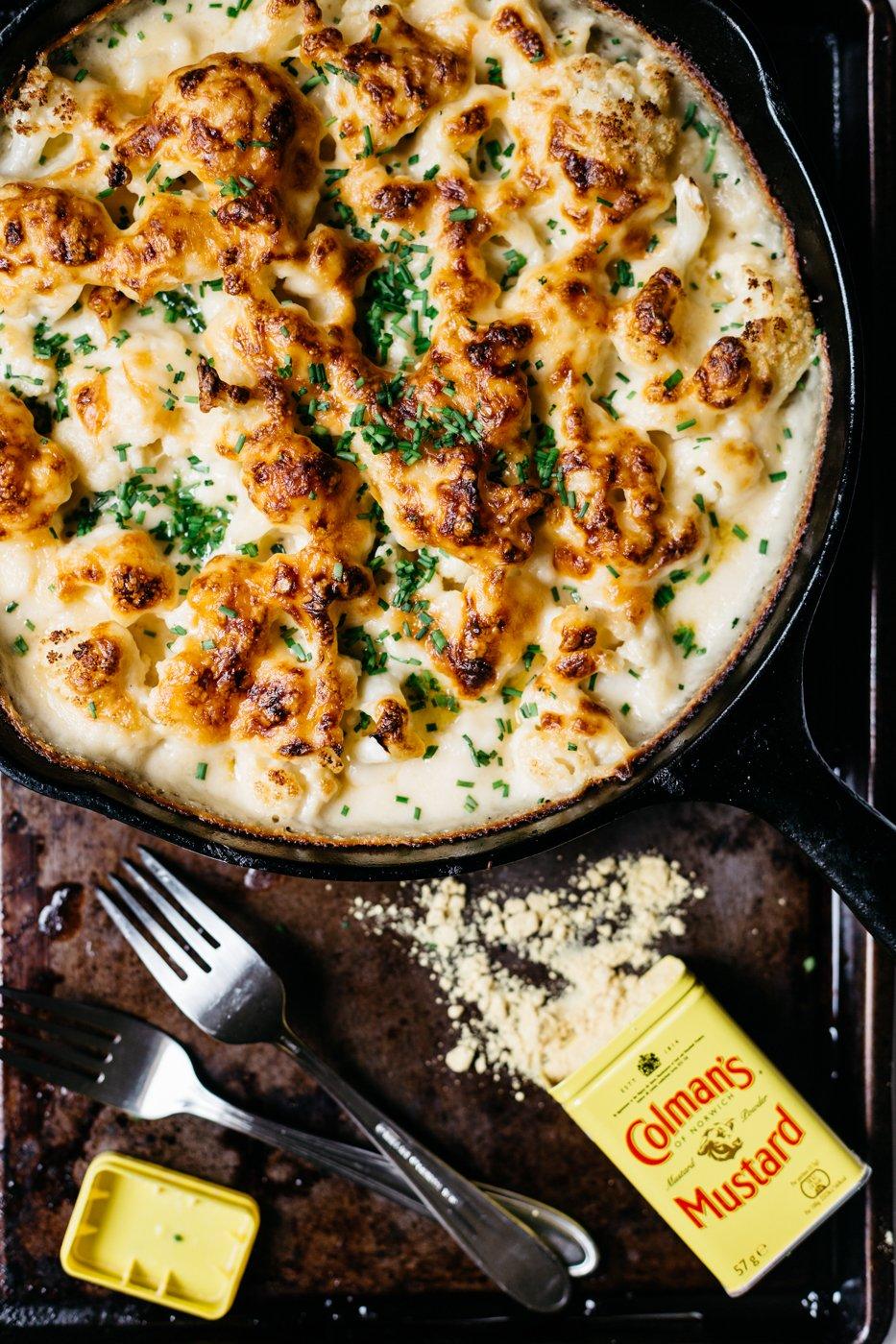 Cheesy Cauliflower in Cast Iron Skillet
