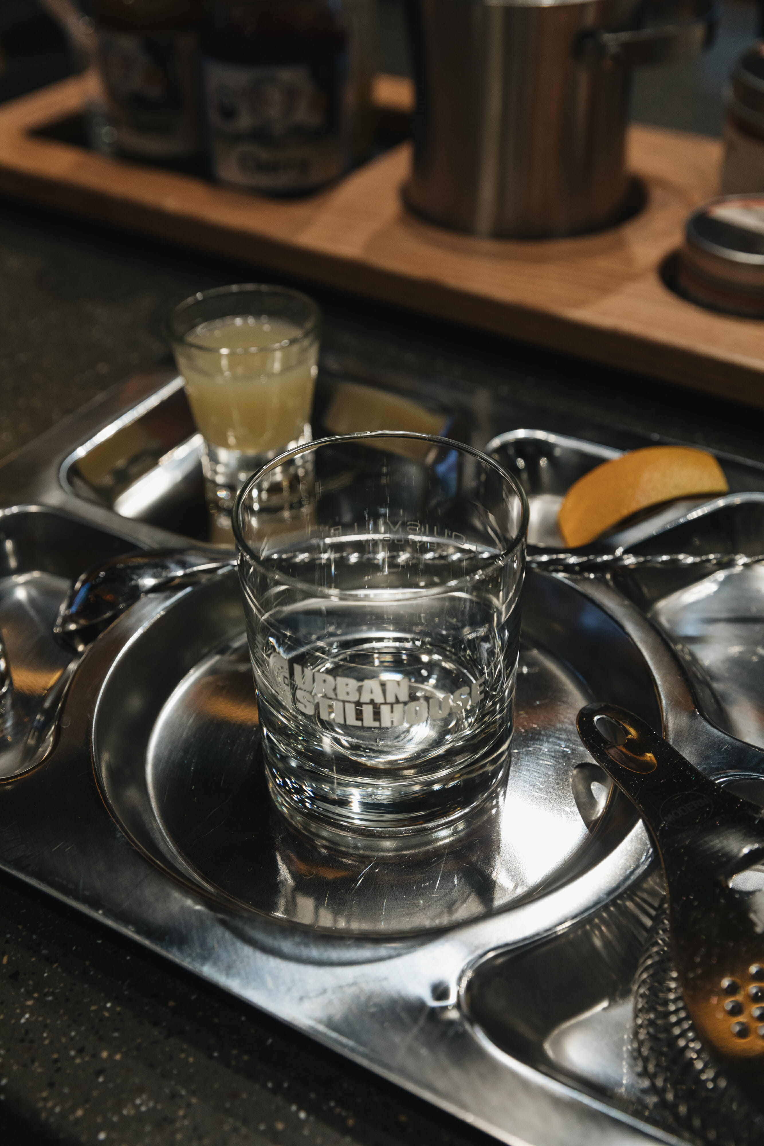 cocktail tray at jim beam urban still house