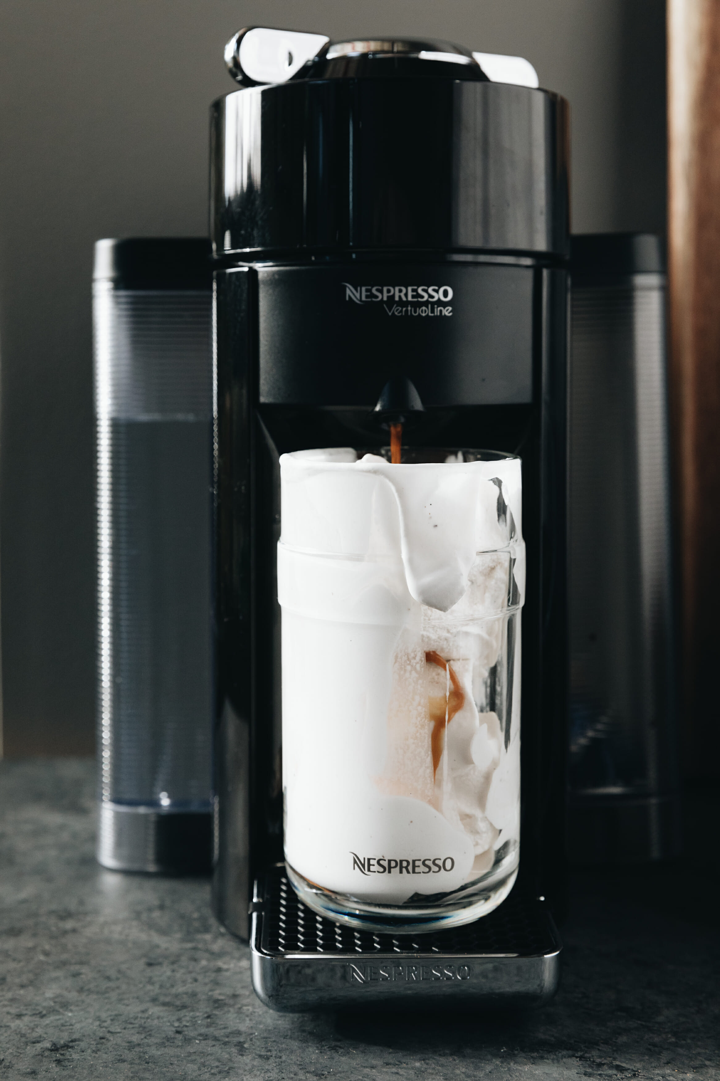 nespresso machine brewing coffee with ice cream