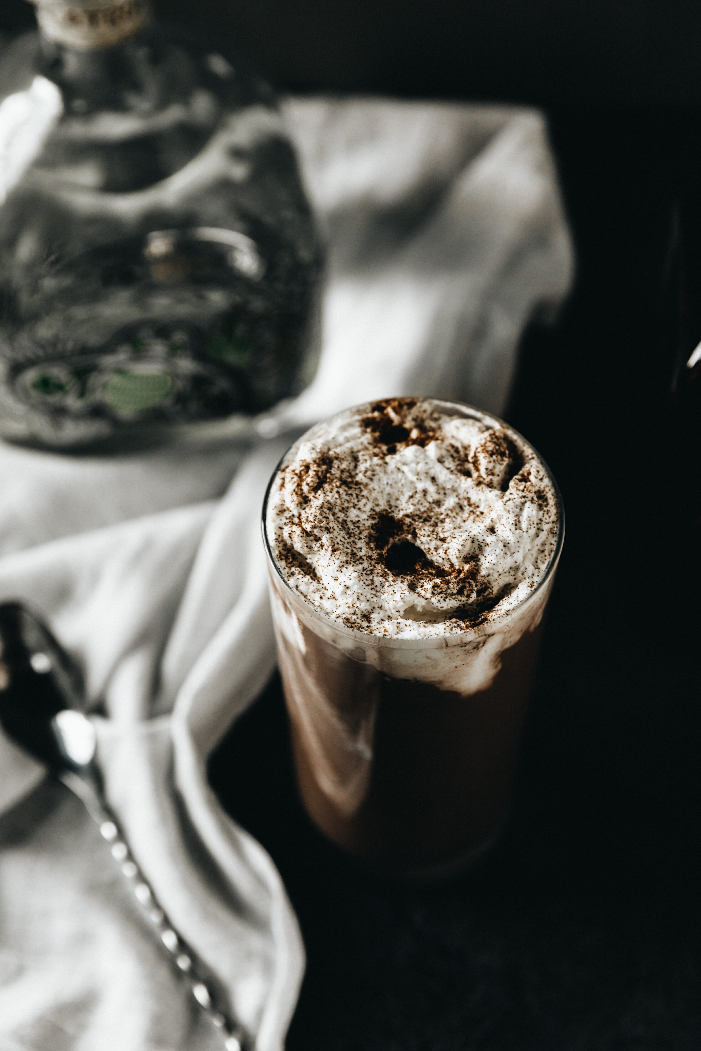 spiked chocolate milk with patron bottle