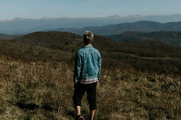 man on mountain in asheville north carolina