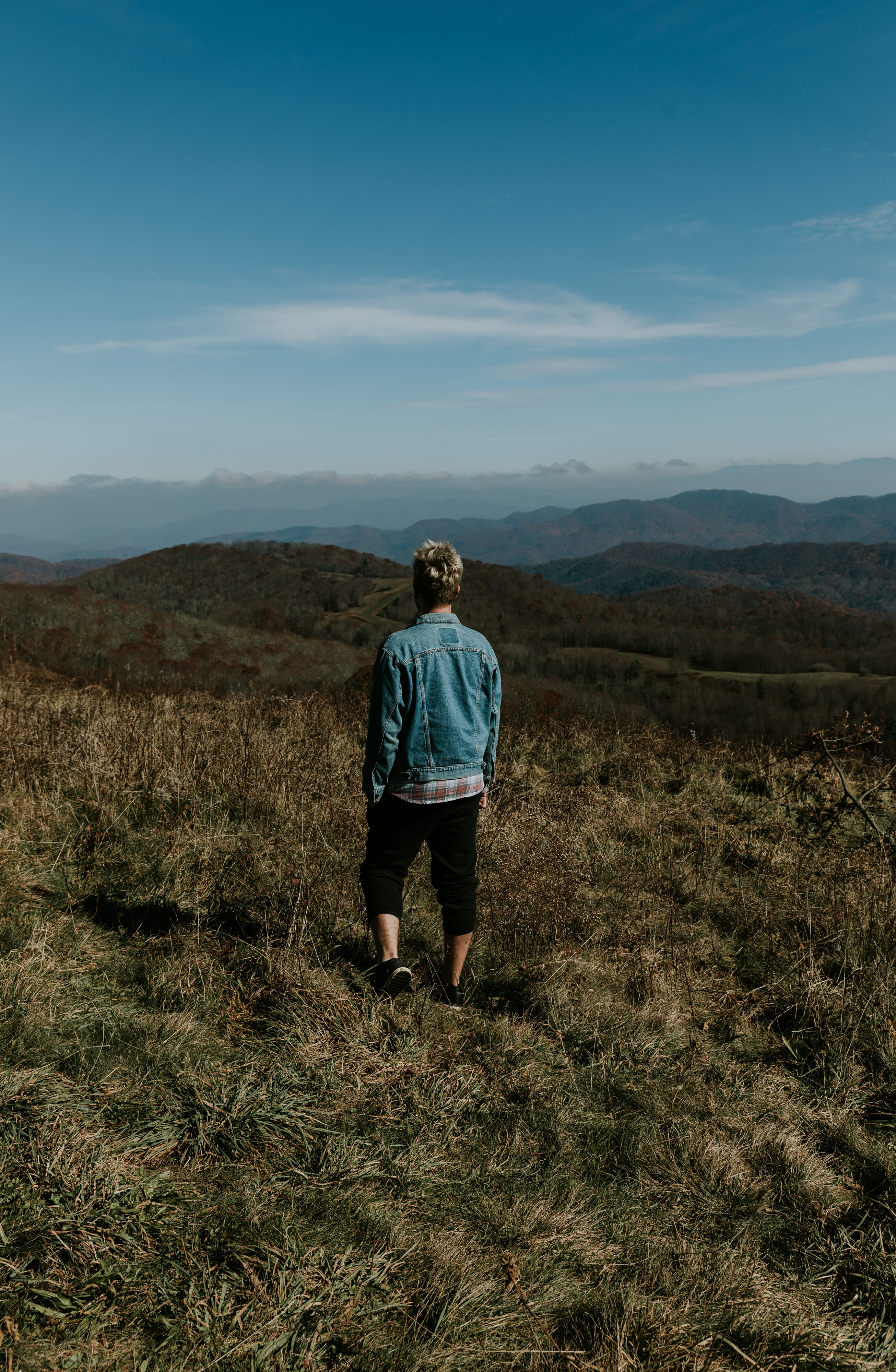 man on mountain in asheville north carolina