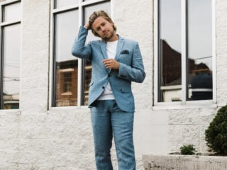 man in blue suit