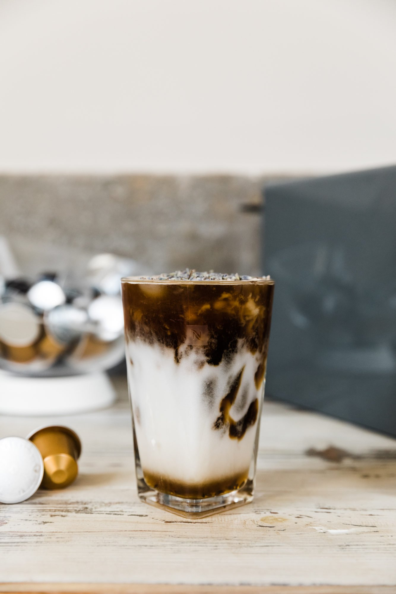 honey lavender iced latte by nespresso machine