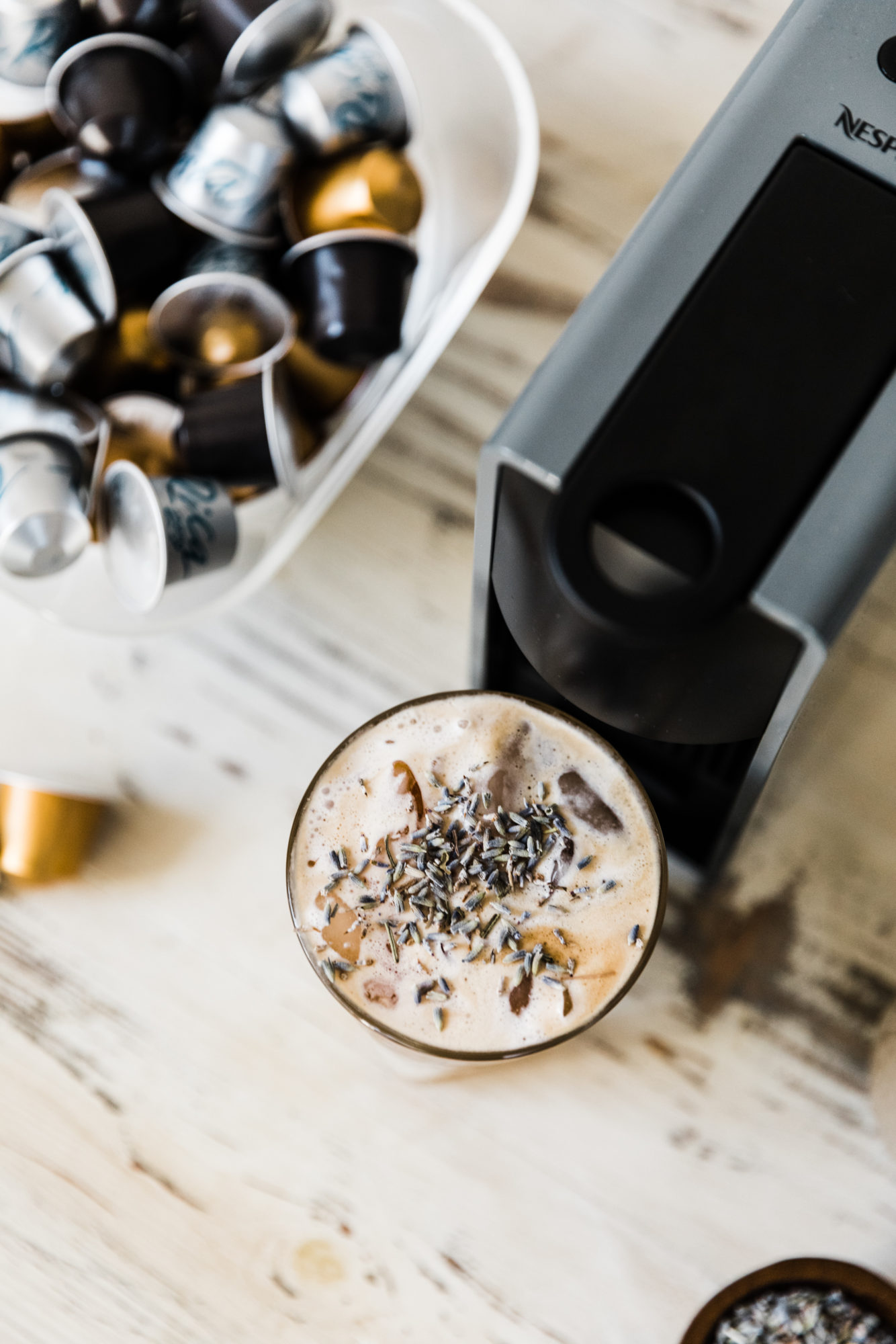 latte with nespresso machine