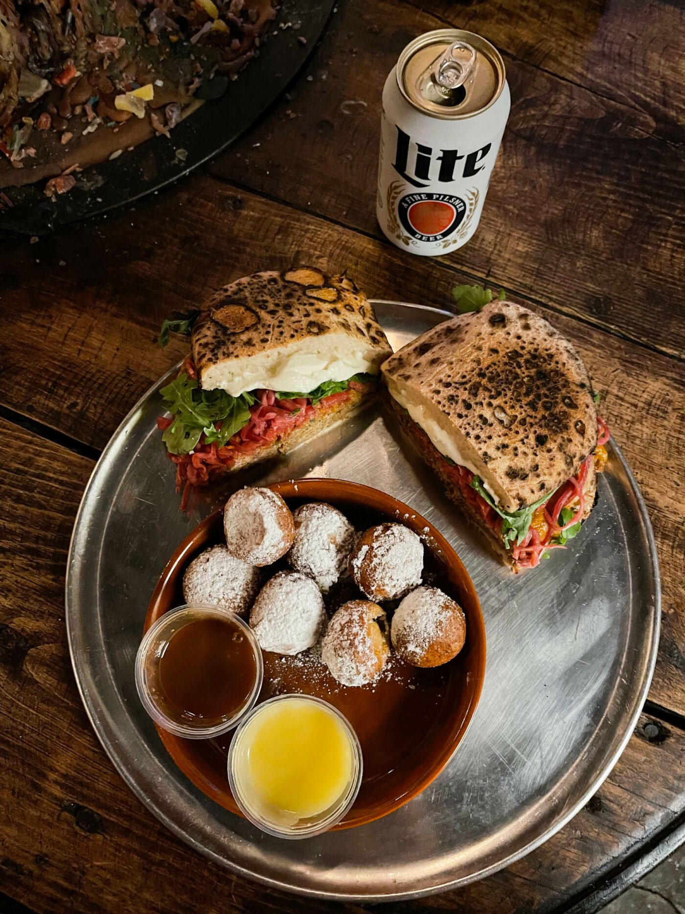 miller lite and sandwich